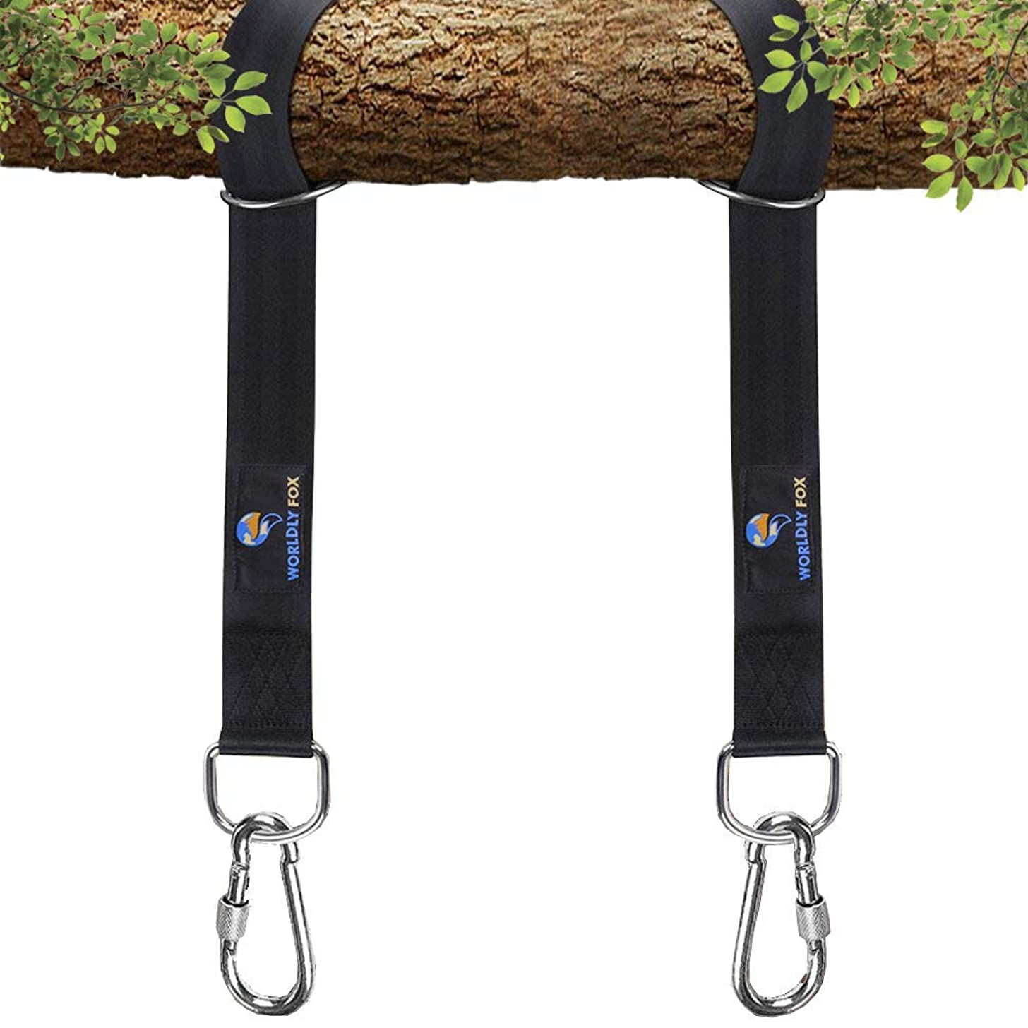 Worldly Fox Hanging Tree Straps for Swings & Hammocks 5ft XL Black Straps with Lock Carabiners - Saves Trees, Adjustable, Easy use & Safe with Heavy Duty 2200lbs Hold, Portable Carry Bag Included
