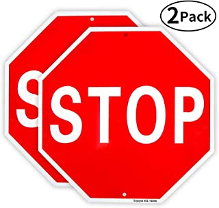 2 Pack Stop Sign Street Slow Warning Reflective Signs 12