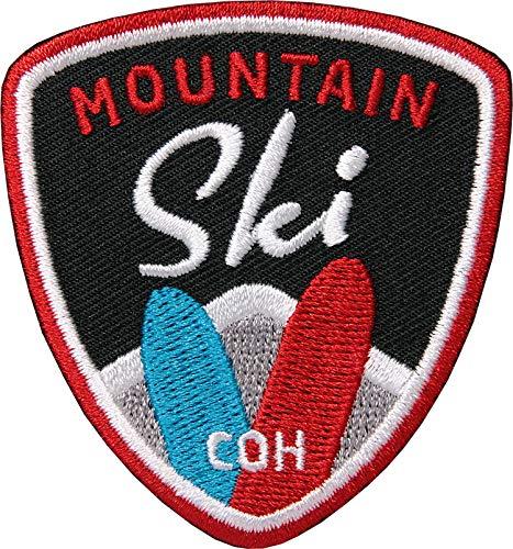 2 x Ski Sport Patch gestickt 62 mm / Skifahren Skitour Wintersport Snowboard Berge Alpen / Patches zum Aufnähen Aufbügeln auf Jacke Kleidung / Aufnäher Aufbügler Flicken Bügelflicken Applikation