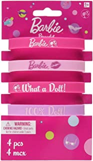 Rubber Bracelet Favors | Barbie Collection | Party Accessory, Multicolor, 4, Model: 399005