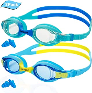 Kids Swim Goggles, Pack of 2, Swimming Goggles for Kids, Toddler Girl Boy Swim Goggles, Swimming Glasses for Children,Teens, Anti Fog, Waterproof, Soft Silicone, Clear Vision, Wide View (Age 3-12)