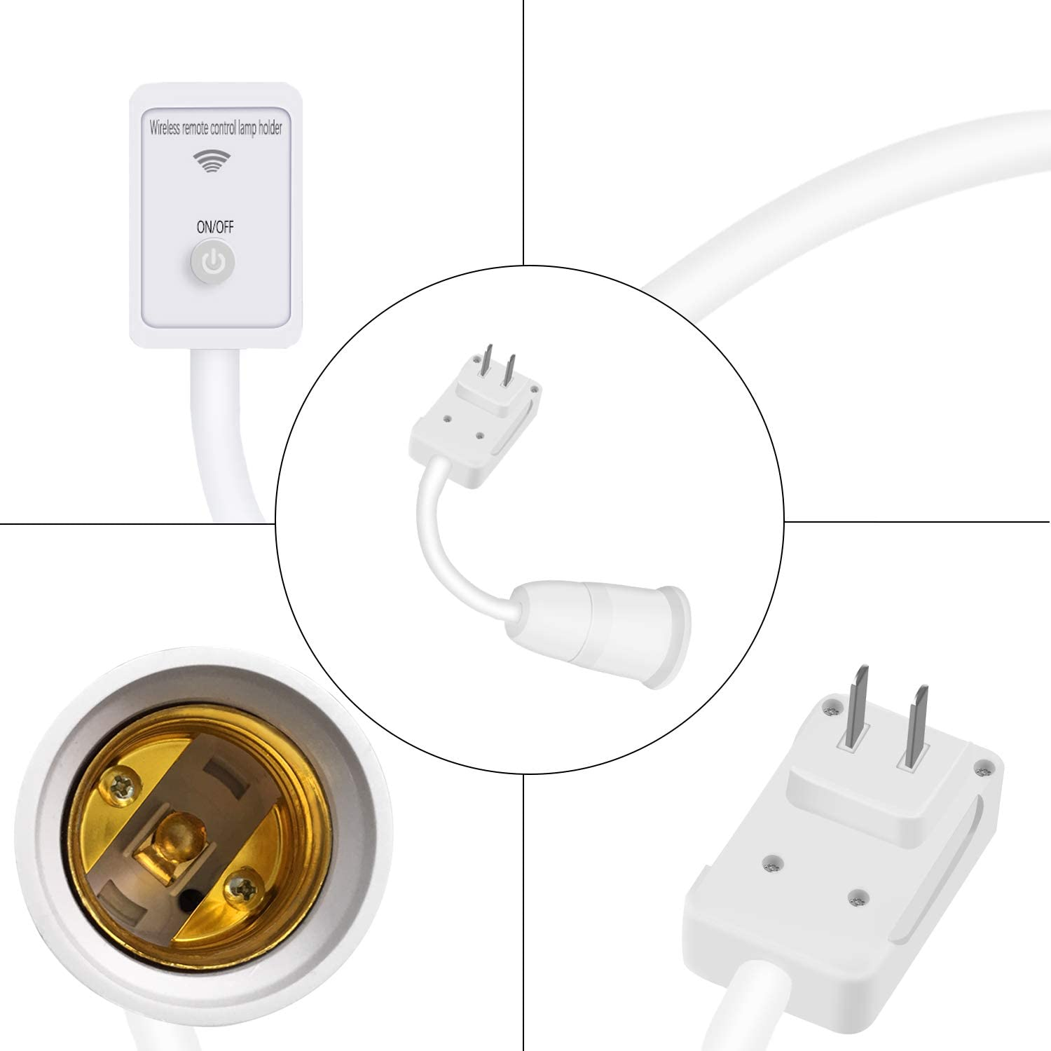 Remote Control E27 Extension Light Socket All Direction Bulb Adapter with On//Off Remote Switch for Wall Night Lights LED Bulbs Flexible Plug in Lamp Socket Remote Light Socket, white
