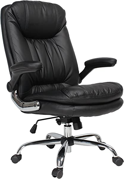 YAMASORO 符合人体工程学的行政办公椅高背办公室桌椅皮革电脑椅可调整倾斜角和翻转手臂男女大黑