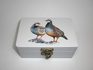 "Caja artesana decorada""Perdices"", Perdiz roja (Alectoris rufa), Red-legged Partridge"