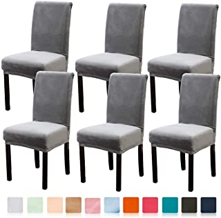 Argstar 6 Pack Soft Velvet Chair Slip Cover for Dining Room, Strecthable Dining Chair Protector for Parsons Chair Set of 6, Light Grey