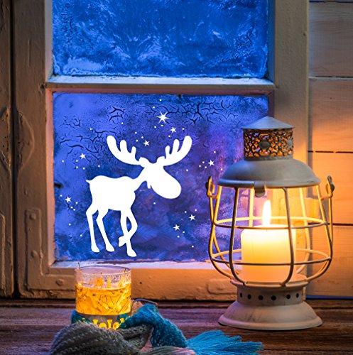 ilka parey wandtattoo-welt Fensterbild Weihnachten Schneeflocken Fensterdeko Weihnachtsdeko Sterne Elch Rentiere weiß M1236