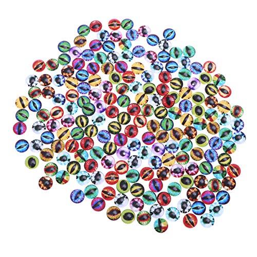 SUPVOX 100 piezas de juguetes ojos de cristal ojos de los animales dragón ojos de vidrio cabujón muñeca de colores mezclados DIY Scrapbooking de los artes de la joyería toma de 12mm