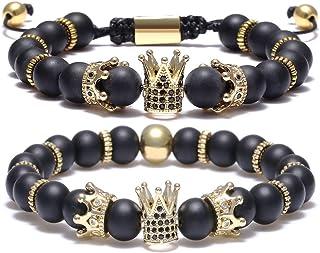 BOMAIL 8mm Imperial Crown Bead Bracelet King&Queen Luxury...