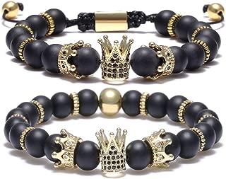 8mm Imperial Crown Bead Bracelet King&Queen Luxury Charm Couple Jewelry Adjustable Bracelet for Men Women