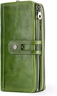 LDUNDUN-BAG, 2019 Leather Multi-Function Vintage Men's Wallet Buckle Clutch Leather Men's Bag (Color : Green, Size : S)