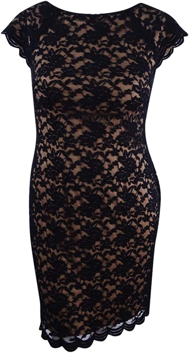 Connected Apparel Women's Cap Sleeve Lace Dress with Scalloped Hem