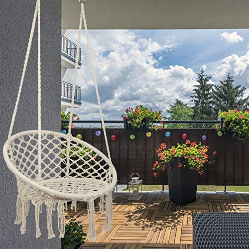 lenrixoxe Dormitorio colgante silla de algodón nórdico hamaca silla de mano red de columpio para niños adultos columpio casa patio trasero jardín silla colgante cojinete al aire libre 100kg/220lb