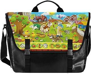 Bolsa de cartero de lona con diseño de animales de granja, unisex de 15,6 pulgadas, estilo retro, para negocios, bolso de ...