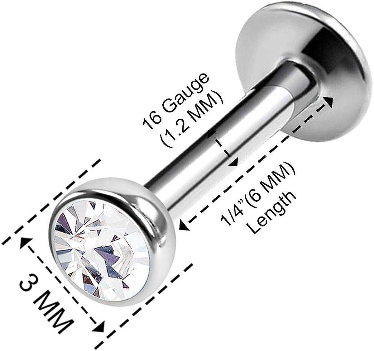 BanaVega 2PCS Steel Internally Threaded Labret Studs 16g 1/4 6mm 3mm Crystal Auricle Earrings Monroe Piercing Jewelry See More Colors