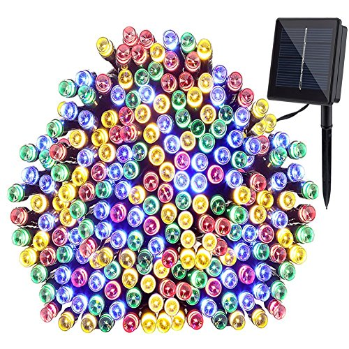 Solar String Lights, GDEALER 72ft 200 LED 8 Modes Solar Powered Waterproof Starry Fairy Outdoor String Lights Christmas Decoration Lights for Patio Gardens Homes Landscape Wedding Party-RGB (1 Pack)