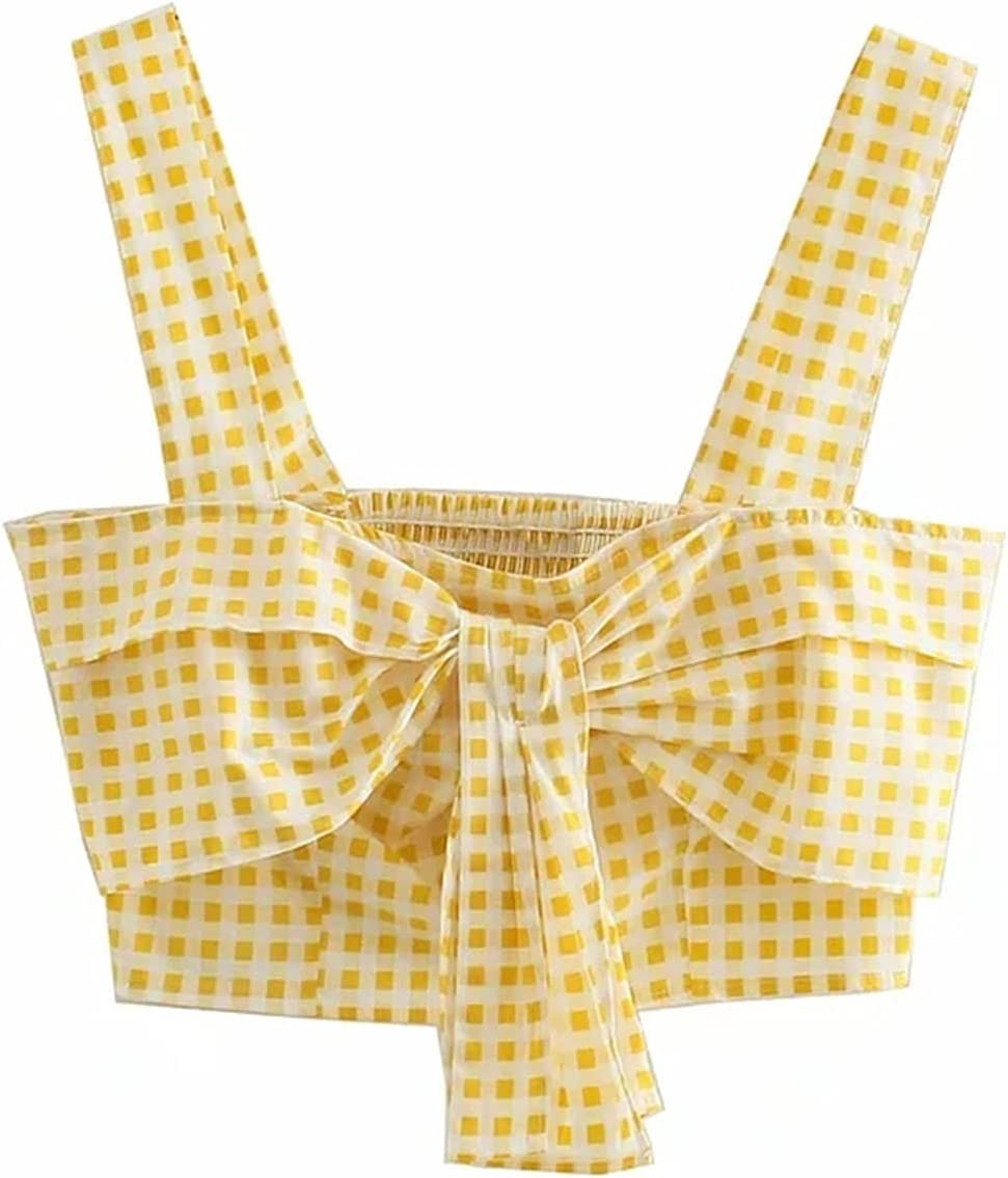 PJRYC Vest Printing Women's Check Pattern Belly Button Exposed top Fashion Butterfly Short Mini Sexy Vest Women Casual (Color : Yellow, Size : X-Small)