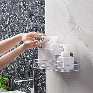 浴室ラック バスルームラック お風呂ラック 台所収納ラック お洒落 強力粘着固定 水切り キッチン用ラック 多機能収納 (白)
