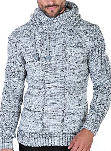 Karl's people Herren Strick Kapuzen Pullover mit Schalkragen in verschieden Farben 7510, Größe L, Farbe Grey