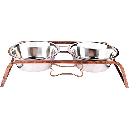 NAAZ PET SUPPLIES Rustic Bone Diner Wrought Iron Stainless Steel Food and Water Bowl with Iron Stand for Dogs and Cats (1600ml x 2 Bowls)