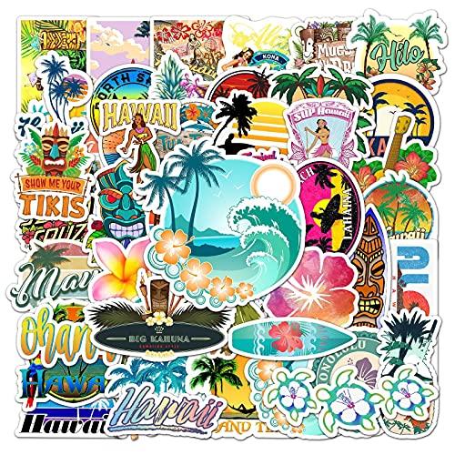 ZZHH 50 Piezas al Aire Libre Hawaii Surf Pegatinas Verano Playa Tropical Surf Impermeable DIY Tabla de Surf Coche monopatín calcomanía Pegatina