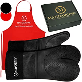 Mandarinne Silicone Oven Mitts and Apron Set – Heat Resistant Grill Mitts – Extra-Long Professional Heat-Resistant Mitts – Quilted Cotton Lining – High Durability – Black Oven Gloves + Red Apron