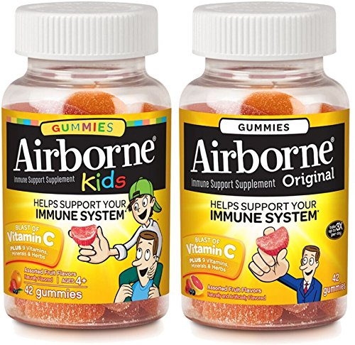 Airborne Adult & Kids Assorted Fruit Flavored Gummies Value Pack-Immune Support Supplement with Vitamin C, Vitamin E, Echinacea & Selenium, Gluten Free, 42 Count (1 Each)