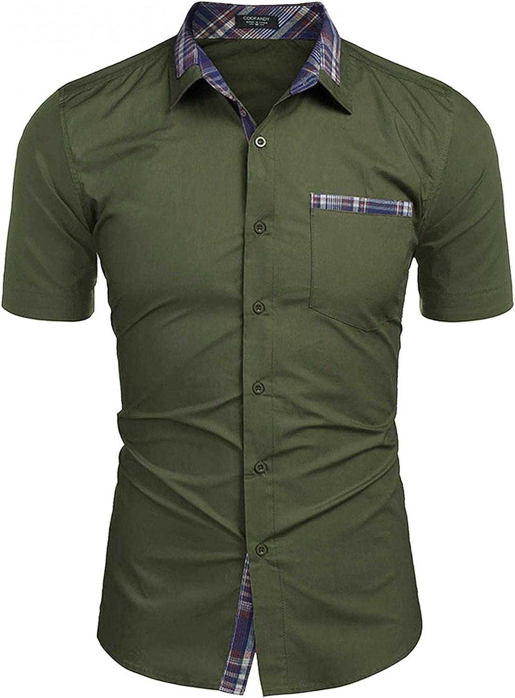 LEIYAN Mens Casual Button Down Shirts Summer Short Sleeve Slim Fit Work Shirts Graphic Beach Hippie Tops