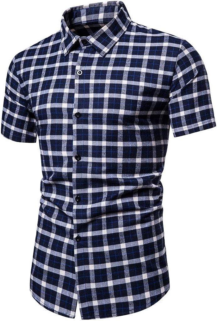 MODOQO Men's Short Sleeve Button Down Plaid Shirt for Outdoor Summer