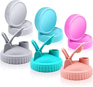 9 Pack Plastic Mason Jar Lids Set, Wide Mouth Mason Jar Lids, Reusable Flip Top Leak Proof Lids Colored Plastic Storage Ca...