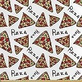 ABAKUHAUS Pizza Satin Stoff als Meterware,