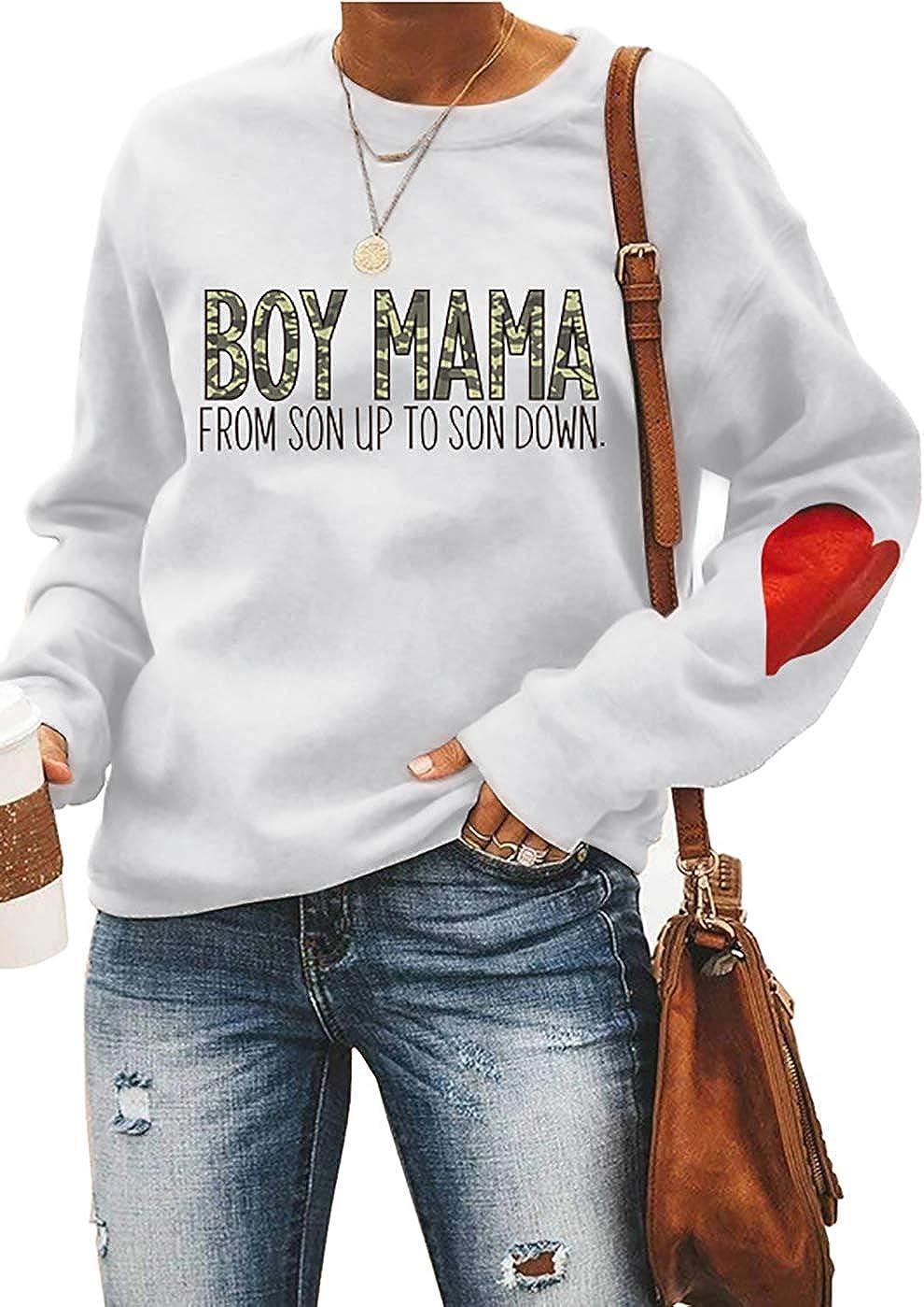 ETATNG Womens Boy Mama Sweatshirt Round Neck Pullover Tshirts Mama Life Letter Print Tops