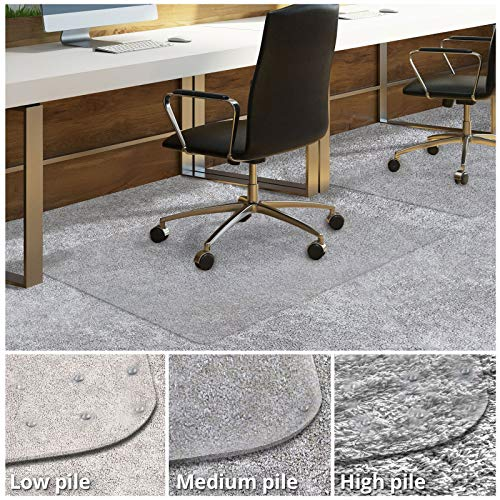 Office Chair Mat for Carpeted Floors | Desk Chair Mat for Carpet | Clear PVC Mat in Different Thicknesses and Sizes for Every Pile Type | Medium-Pile 40