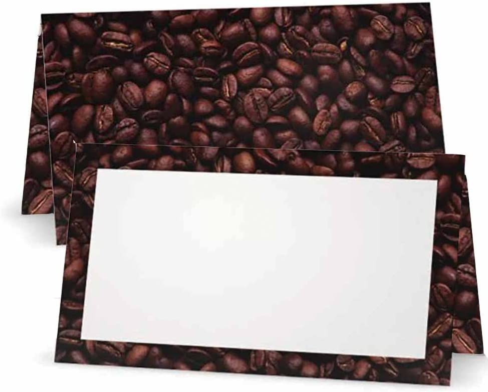 Coffee Beans Superior Place Cards - Flat Pack Tent or White 50 Great interest 10