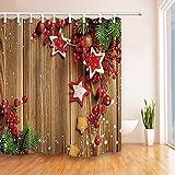 nyngei Weihnachten Decor Cherry & Sterne auf Holz Polyester-Duschvorhänge-Wasserdicht Bad Vorhang 180x 180cm Duschvorhang Haken enthalten rot–Hellbraun –