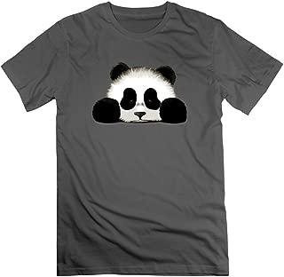 Men's Cute Cartoon Fluffy Panda Face DeepHeather Funny T Shirt