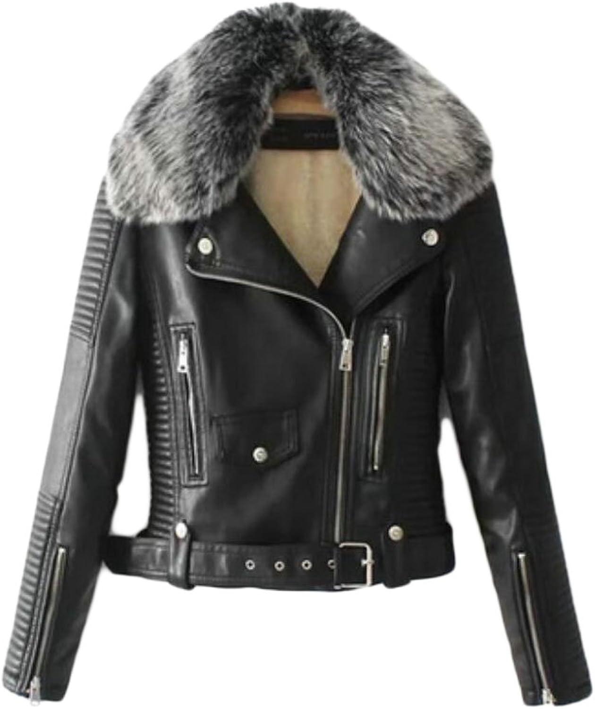 Zantt Womens Faux Fur Detachable Outdoor Faux Leather Moto Jacket Coat