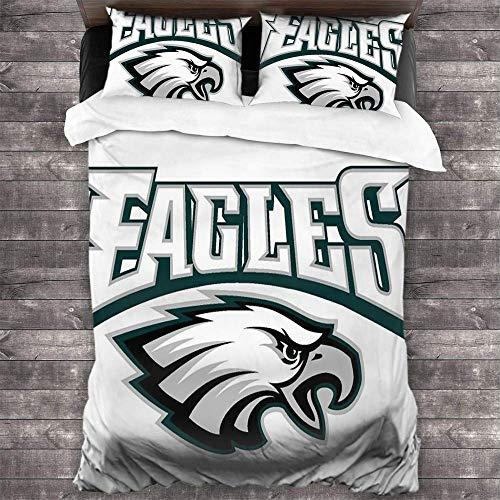 LAYENJOY Football Philadelphia E-a-g-l-ES(27) Duvet Cover Set 3D Printing Bedding Set Soft Comfy Breathable Fade 3 Piece Bedding Set with 2 Pillow Shams, Queen Size