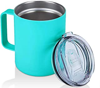 Barrel Mug Double Wall Stainless Steel Insulated Coffee & Beer Barrel Shape Mugs With Lid and Bottle Opener - Keeps Your Coffee Hot & Cold ? (bule-14oz)