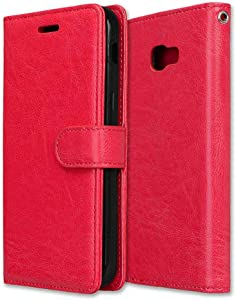 CAXPRO  Galaxy 2017 Case  Shockproof Wallet Cover for Samsung Galaxy 2017  Slim Leather Notebook Style Case with Soft TPU Inner Bumper  Red