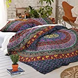 Sophia Art Exclusive Bohemian Indian Mandala Tapestry Full Duvet with Pillowcases, Mandala Bed Cover Boho Duvet Cover (Multi)