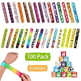 100 Pcs Slap Bracelets Party Favors, Colorful Hearts Emoji Animal Unicorn Print Design Retro Slap Bands for Kids Adults, Goody Bag Pinata Filler Carnival Prizes Treasure Chest Toys Easter Eggs