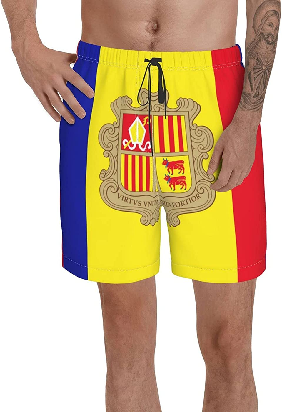 Andorra Flag Men's 3D Printed Funny Summer Quick Dry Swim Short Board Shorts with