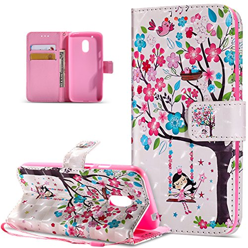 Kompatibel mit Motorola Moto G4 Play Hülle,3D Bunte Gemalte Schmetterlings PU Lederhülle Flip Ständer Wallet Hülle Tasche Tasche Schutzhülle für Motorola Moto G4 Play,Rosa Blumen Baum Vögel