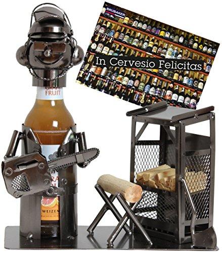 BRUBAKER Bier Flaschenhalter Baumfäller Metall Skulptur Geschenk mit Geschenkkarte