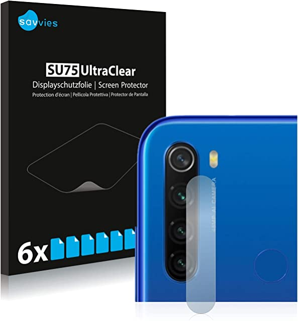 savvies Protector Pantalla Compatible con Xiaomi Redmi Note 8T (Cámara) (6 Unidades) Pelicula Ultra Transparente