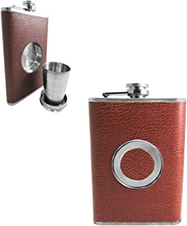 Shot Flask - Stainless Steel 8 oz Hip Flask, Built-in Collapsible 2 Oz. Shot Glass & Flask Funnel - Shots on the Go! (Light Brown)