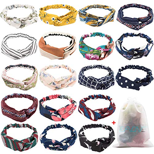 18 Pcs Boho Headbands for Women, EAONE Floral Bandeau Headbands Beach Headbands Elastic Hair Bands Criss Cross Hair Wrap Hair Accessories with 1PC Pouch Bag