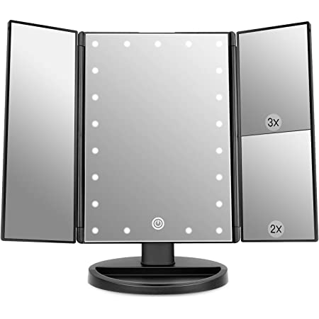WEILY Lighted Makeup Mirror with 21 LED Lights, Trifold Vanity Mirror with 3X/2X/1X Magnification, Touch Screen, Dual Power Supply, 180 Degree Rotation Portable Mirrors for Travel (Black)