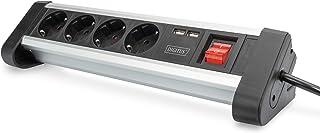 DIGITUS Stekkerdoos met USB - 2 USB-oplaadpoorten USB-A - 4 stekkerdozen - schakelaar - schrijftafel en wandmontage