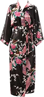 Women's Kimono Robe Long Printed Lotus Kimono Robe Silk with Pockets